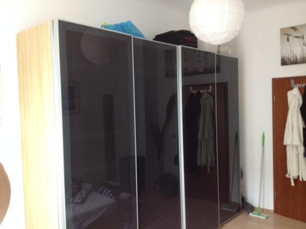 2x kleiderschrank pax buche mit dunkler milchglasfront 2 36m x 1 5m x 0 6m in mannheim. Black Bedroom Furniture Sets. Home Design Ideas