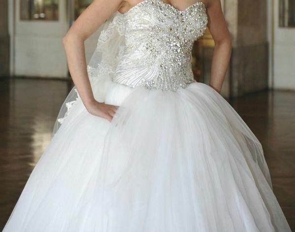 Brautkleid, Hochzeitskleid Gr. 38, Corsage ist mit komplettem Strass ...
