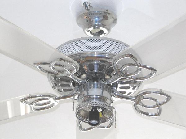 Chrom acryl designer deckenventilator 5 acryl fl gel ventilator mit lichtkugel 123cm - Designer dekoartikel ...