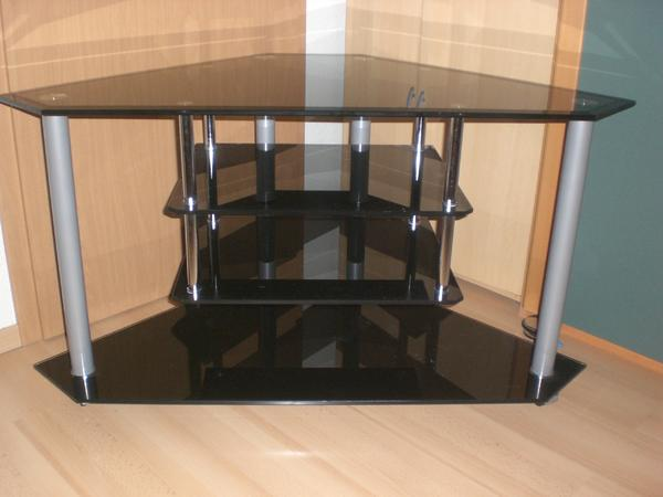 eck tv rack schrank tisch schwarzen glas in bondorf phono tv videom bel kaufen und. Black Bedroom Furniture Sets. Home Design Ideas