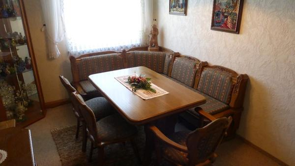 eckbank eiche rustikal teilmassiev mit 3 st hlen und tisch. Black Bedroom Furniture Sets. Home Design Ideas