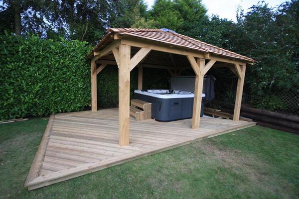 Zedernholz Für Terrasse : Eiche und Zedernholz Gartenlaube Whirlpool, 4 x 4 m in