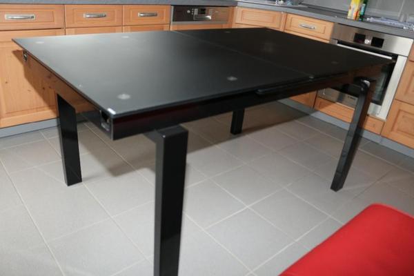 esstisch ausziehbar glas schwarz matt metall schwarz. Black Bedroom Furniture Sets. Home Design Ideas