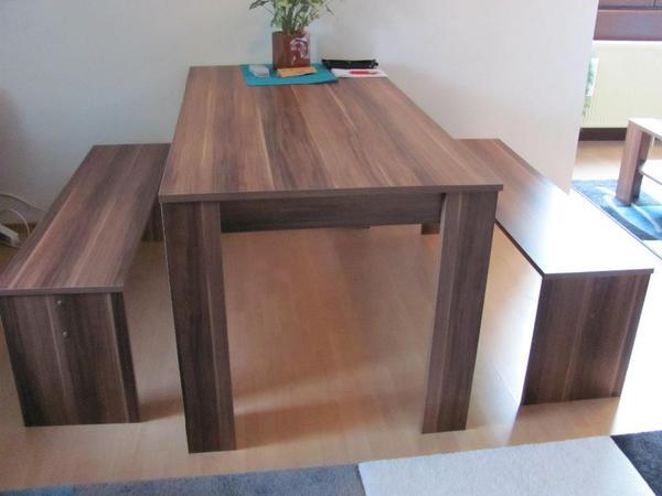E tisch incl 2 sitzb nken farbe nussbaum zur for Esstisch mit glaseinlage