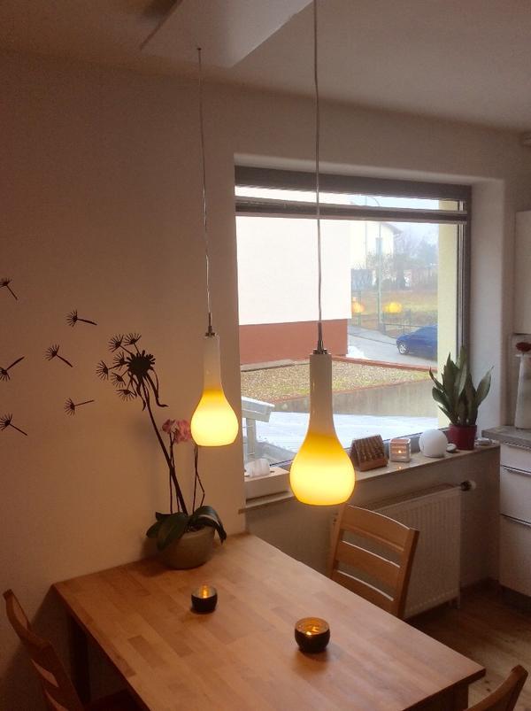 esszimmerlampen in tropfenform wei es glas supersch n in neustadt lampen kaufen und. Black Bedroom Furniture Sets. Home Design Ideas