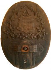 Fassdeckel, antik, 1893