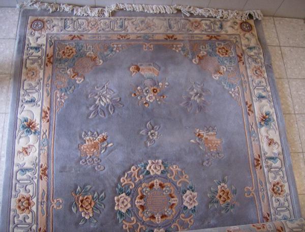 Feiner ChinaTeppich 2,00 x 3,00 m taubenblaubeige (Wolle