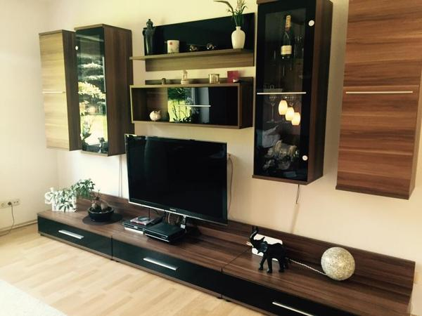 flexible 9 tlg wohnwand nussbaum optik in gifhorn. Black Bedroom Furniture Sets. Home Design Ideas