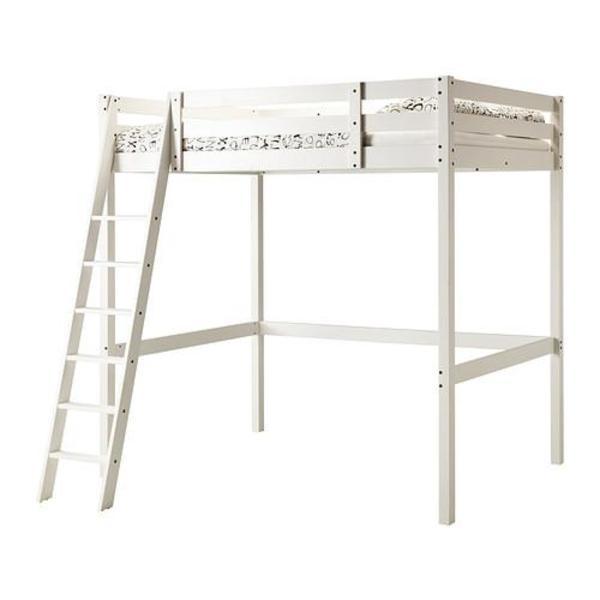 ikea hochbett massiv holz wei lackiert ma e 1 40 m x 2m mit holzleiter standh he unter. Black Bedroom Furniture Sets. Home Design Ideas