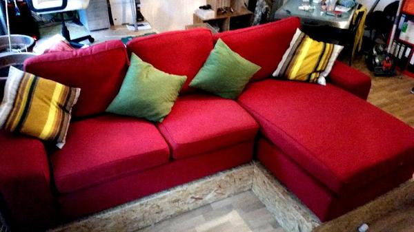 ikea kivik zweisitzer mit recamiere rot in mannheim polster sessel couch kaufen und. Black Bedroom Furniture Sets. Home Design Ideas