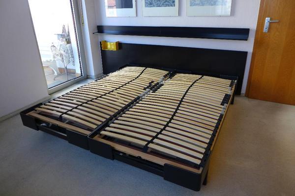 interl bke doppelbett mit zubeh r in schwarz in friedberg designerm bel klassiker kaufen und. Black Bedroom Furniture Sets. Home Design Ideas