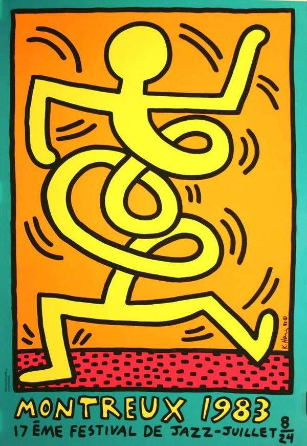 keith haring poster jazz festival montreux 1983 in mainz kunst gem lde plastik kaufen und. Black Bedroom Furniture Sets. Home Design Ideas