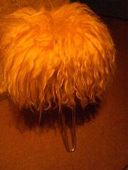 Kunstfellhocker, Farbe: Orange -