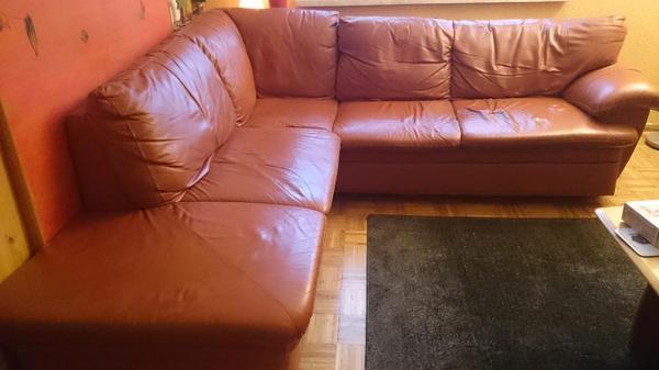 ledersofa l form terrakotta in satteins polster sessel. Black Bedroom Furniture Sets. Home Design Ideas