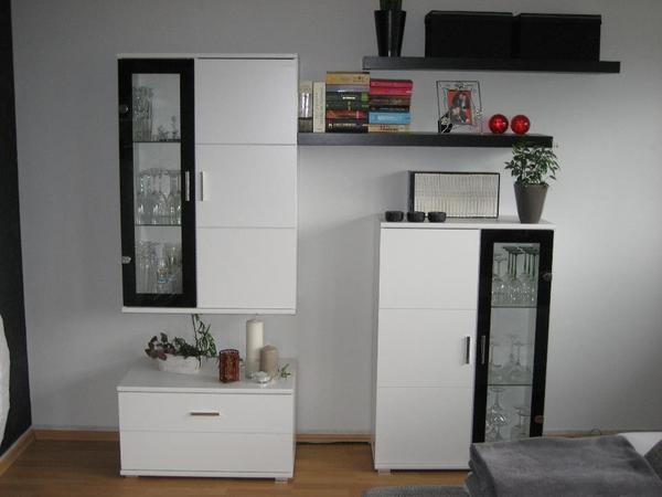 moderne anbauwand wie neu. Black Bedroom Furniture Sets. Home Design Ideas