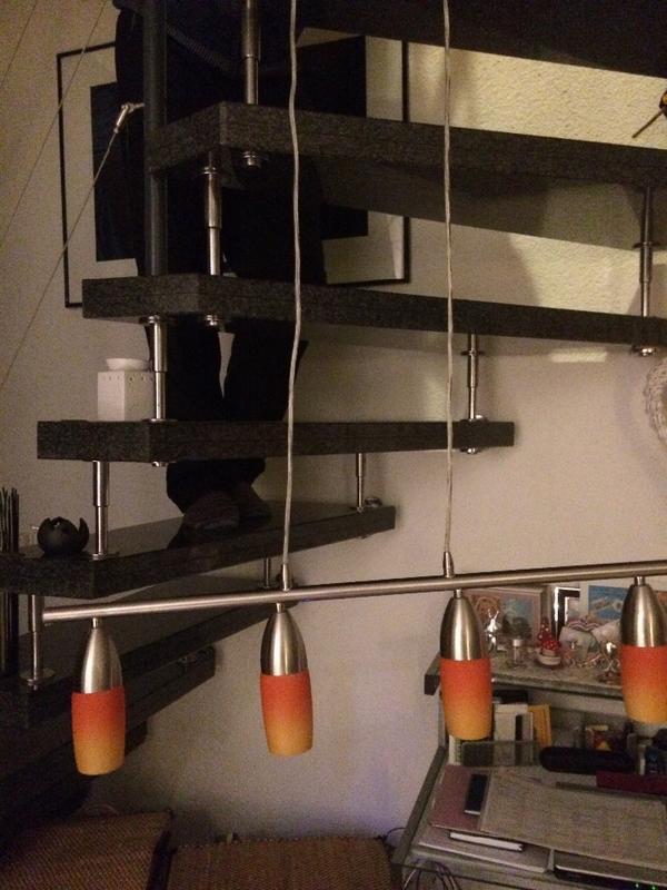 pendellampe mit 4 gl ser in orange in ingersheim lampen kaufen und verkaufen ber private. Black Bedroom Furniture Sets. Home Design Ideas
