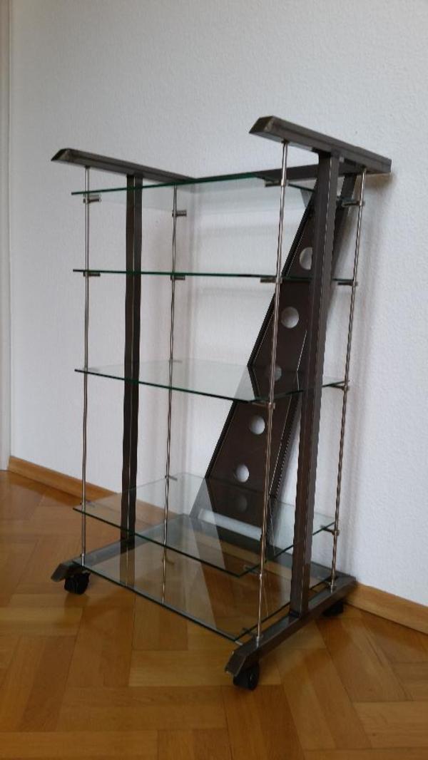 phonoregal hifi rack anthrazit mit 5 glasb den in n rnberg phono tv videom bel kaufen und. Black Bedroom Furniture Sets. Home Design Ideas