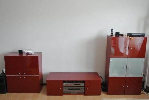 rote wohnwand fernsehm bel in karlsruhe phono tv videom bel kaufen und verkaufen ber. Black Bedroom Furniture Sets. Home Design Ideas