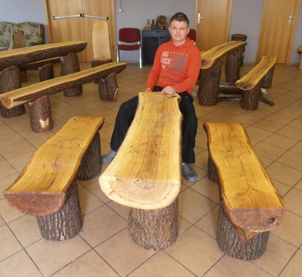 Rustikale Sitzgruppe Garnitur Massiv Holz Eiche Bank Stuhl Tisch f