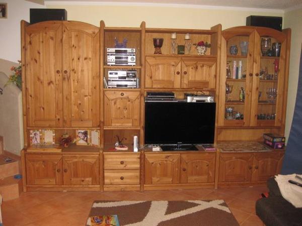 schrankwand kommode sekret r esstisch 4 st hle kiefer. Black Bedroom Furniture Sets. Home Design Ideas