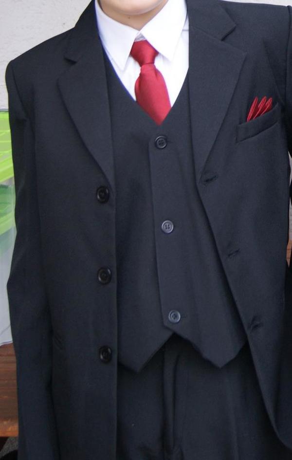 schwarzer anzug gr 158 sakko hose weste krawatte. Black Bedroom Furniture Sets. Home Design Ideas