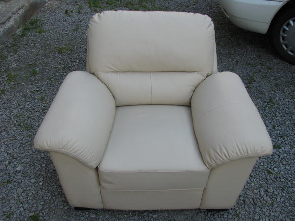 polster sessel couch weisser ledersessel