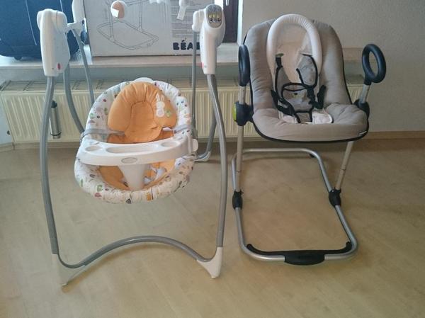 wir verkaufen zwei sehr gut erhaltene babysachen eine h henverstellbare wippe von beaba damit. Black Bedroom Furniture Sets. Home Design Ideas