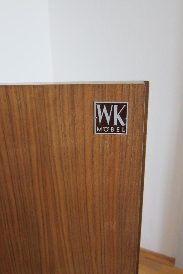 wk m bel 60er jahre schrank vitrine highboard kommode glas schiebet ren teak in. Black Bedroom Furniture Sets. Home Design Ideas