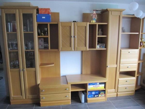 wohnwand buche massiv in oppenweiler wohnzimmerschr nke anbauw nde kaufen und verkaufen ber. Black Bedroom Furniture Sets. Home Design Ideas