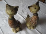 2 wunderschöne Katzenfiguren Katzen aus