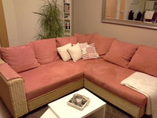 Alcantara rattan sofa ecksofa wohnlandschaft in br hl polster sessel couch kaufen und Rattan sofa gebraucht
