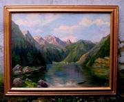 altes Gemälde Königssee Männer in