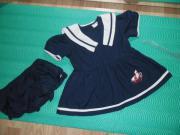 Baby Sommer Kleid Marine Weiss