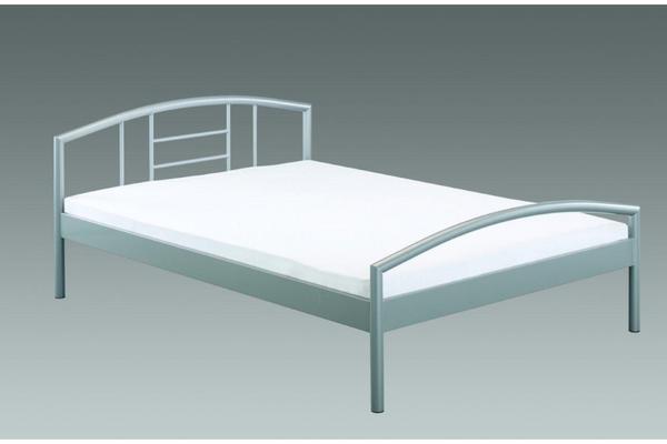 bett metall silber 140x200 cm mit roll lattenrost in. Black Bedroom Furniture Sets. Home Design Ideas