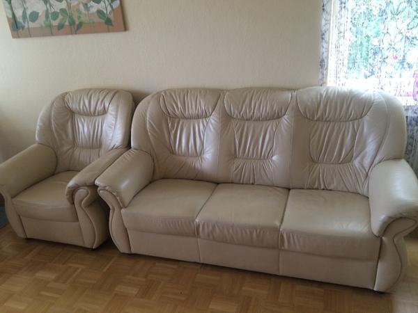 echt leder couch / sofa 3-teilig in münchen - polster, sessel, Hause deko