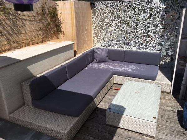ecksofa polyrattan wei lounge polster outdoor terrasse in baden baden gartenm bel kaufen und. Black Bedroom Furniture Sets. Home Design Ideas