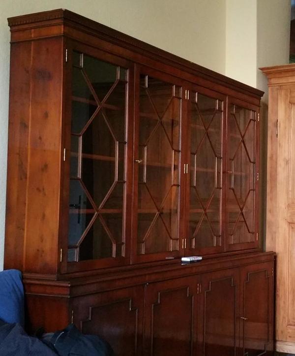 Englisches Bookcase / Bücherregal / Schrank / Vitrine Nussbaum, 3 ...