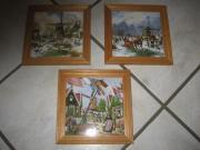 Fliesenbilder handbemalt Hollandbilder mit Holzrahmen