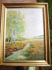 Flußlandschaft mit Birken Ölbild