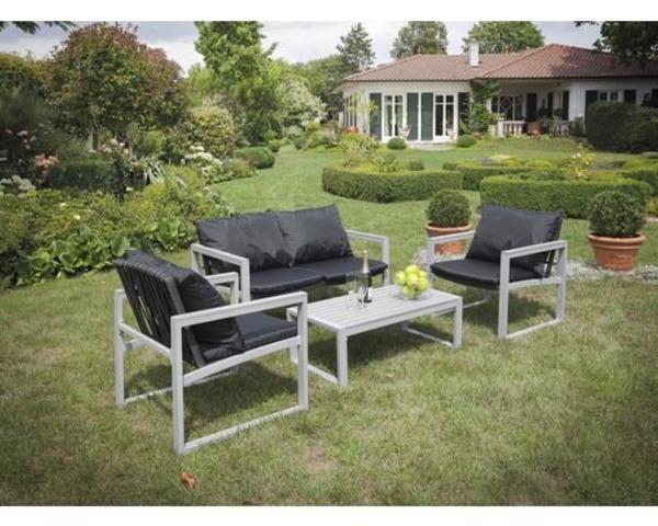 gartenm bel set mit bank alu. Black Bedroom Furniture Sets. Home Design Ideas