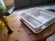 Geschirr-Abtropfkorb mit Tablett hellgrau gesprenkelt