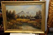 Goldrahmen mit Landschaft Öl Holzplatte