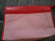 Kulturbeutel Kulturtasche Kosmetiktasche rot-weiß nie