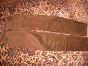 neuwertige schokoladenbraune Velouslederhose Gr 34-36-38