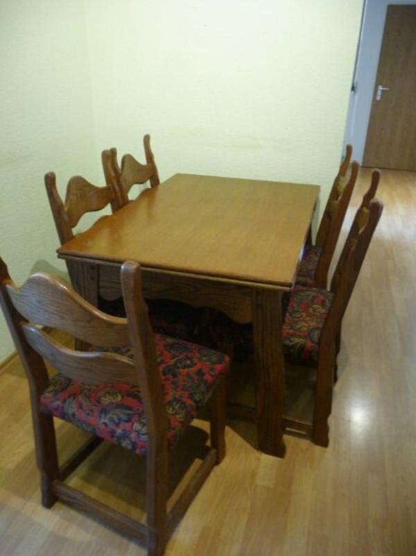 holztisch stuhlen gebraucht kaufen nur 2 st bis 60. Black Bedroom Furniture Sets. Home Design Ideas