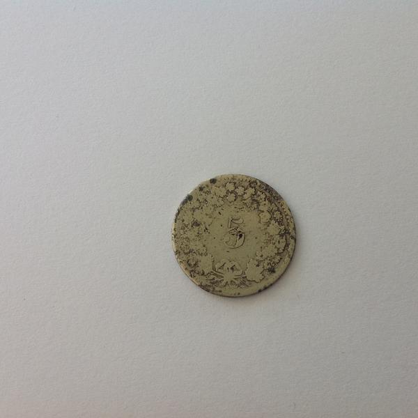 Schweizergeld 5Rp 1850. OMZ - Ch-4054 Basel Zustellkreis - Ein 5Rappenstück aus dem Jahr 1850.Sehr rar.Ohne OMZ - Ch-4054 Basel Zustellkreis