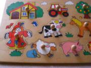 Steckholzpuzzle GOKI Bauernhof mit 9