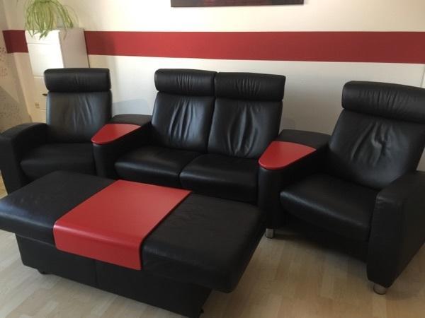 stressless (ekornes) arion sofa/couch + doppelhocker leder schwarz, Hause deko