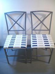 Stühle Metall grau mit Neuen