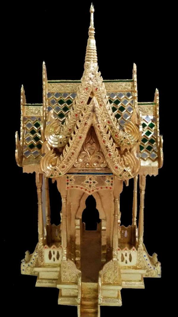 Thailand Geisterhaus Gold Farbe 93cm Hoch Tempelgeisterhaus Geweiht